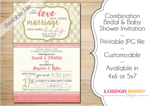 Wedding and Baby Shower Combined Invitations Bination Bridal & Baby Shower Invitation