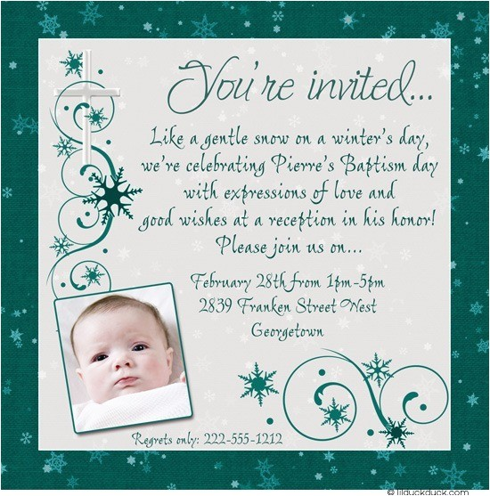 chic winter baptism invitation