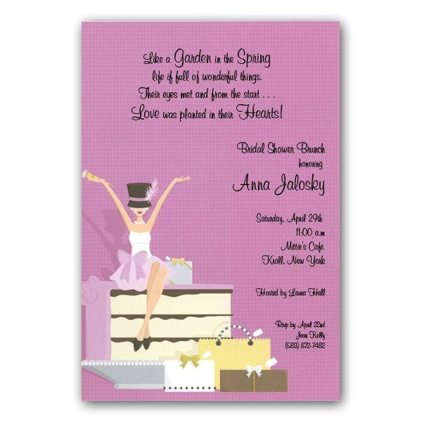 Hat Diva on Cake Bridal Shower Invitations p 109 IN102