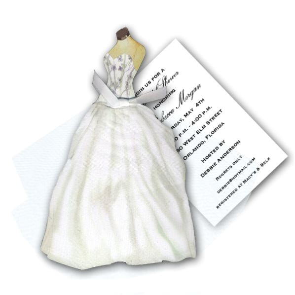 Diecut Gown with Floral Bodice Bridal Shower Invitations p 149 AW967