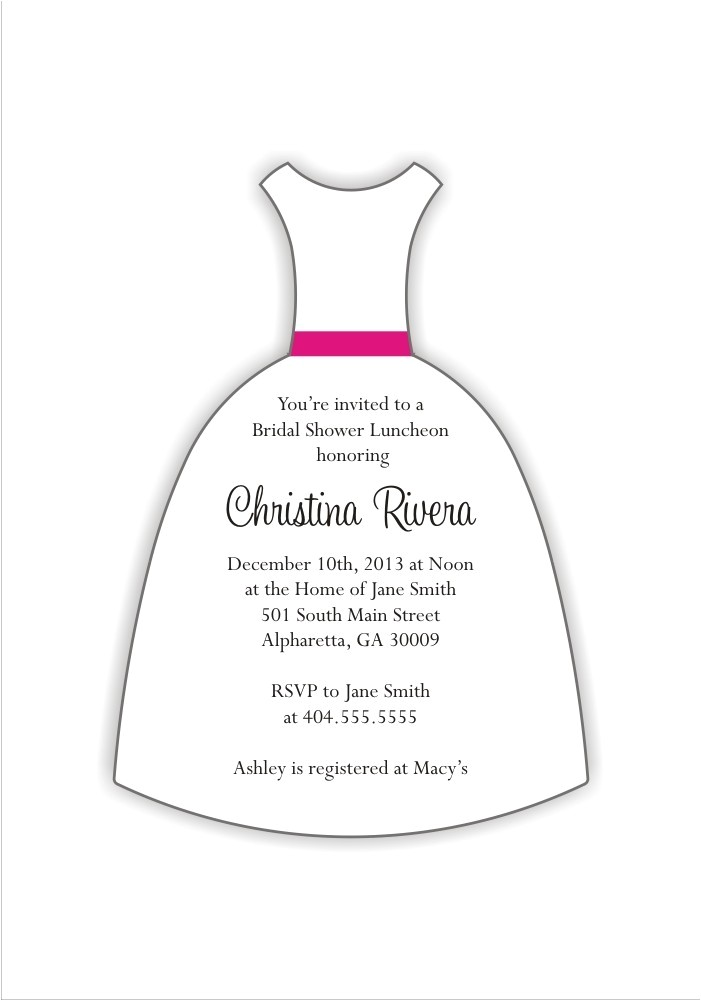 wedding dress cut bridal shower invitaton