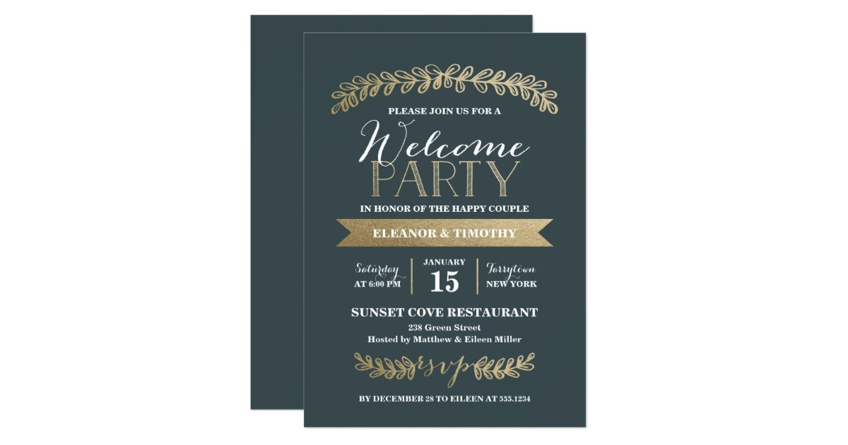 gold laurels slate wedding wel e party invite