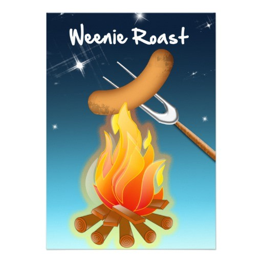 hot dog over campfire weenie roast invitation 161176446056936621