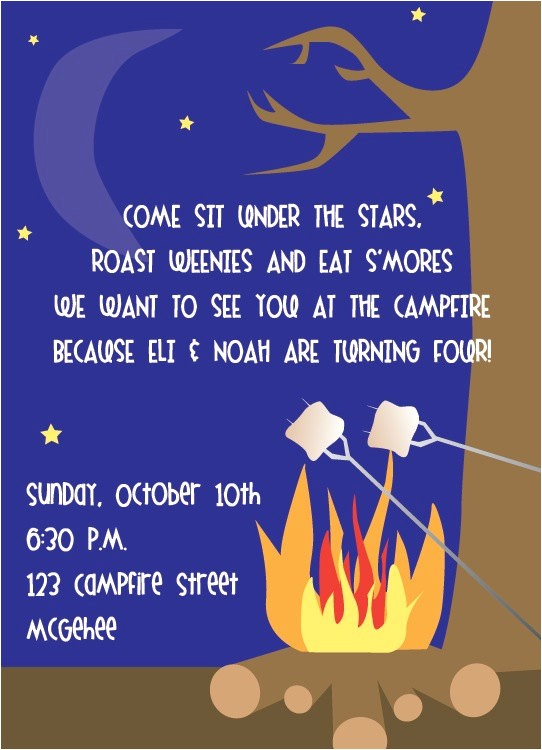 diy printable invitation campfire weenie