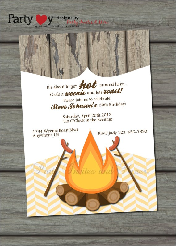 Weenie Roast Birthday Invitations Items Similar to Weenie Roast Adult Birthday Party