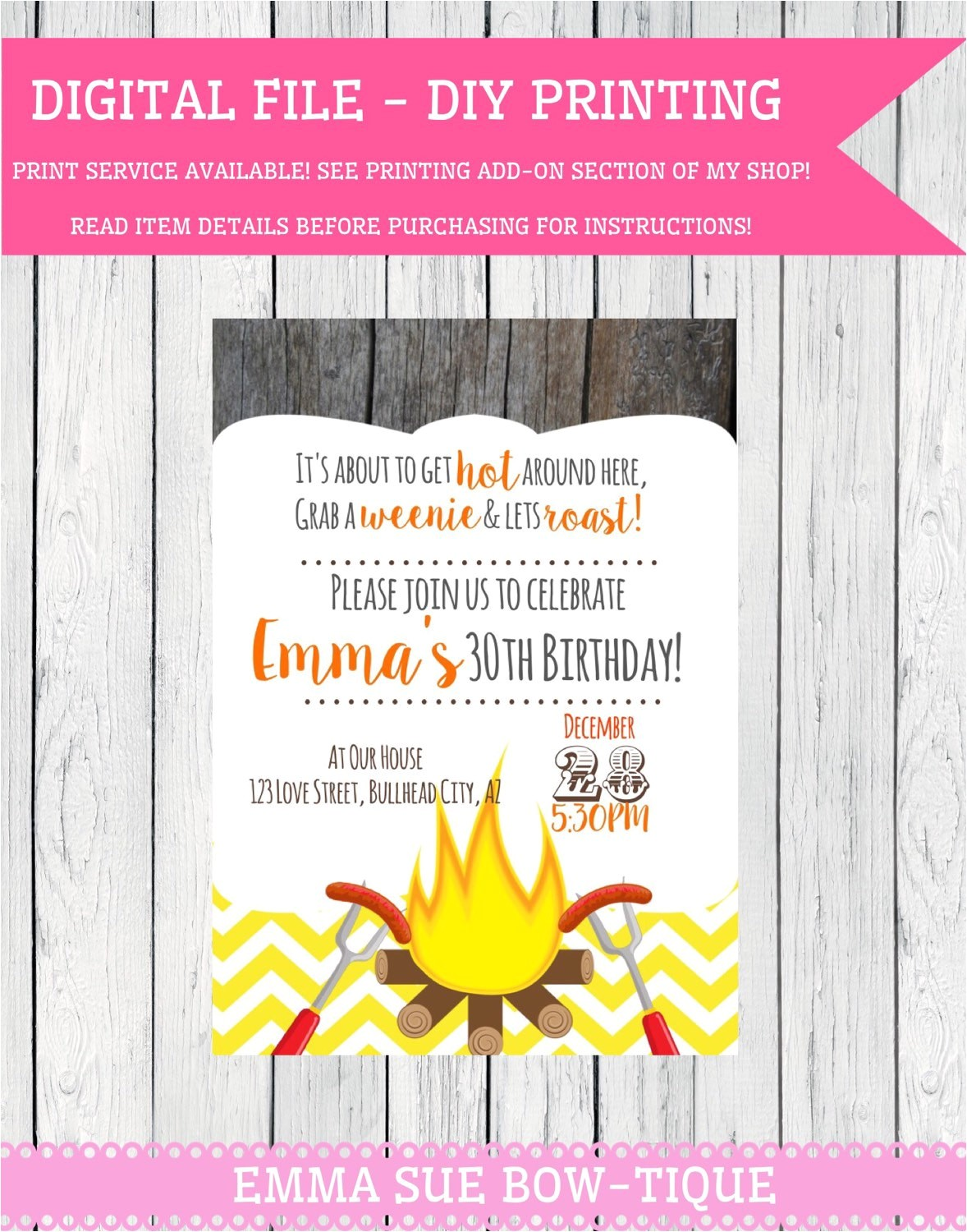 weenie roast personalized birthday