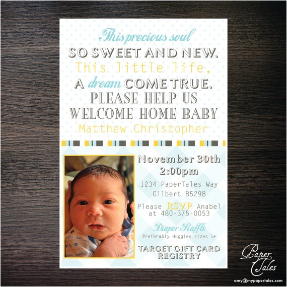 wel e home new baby shower invitations