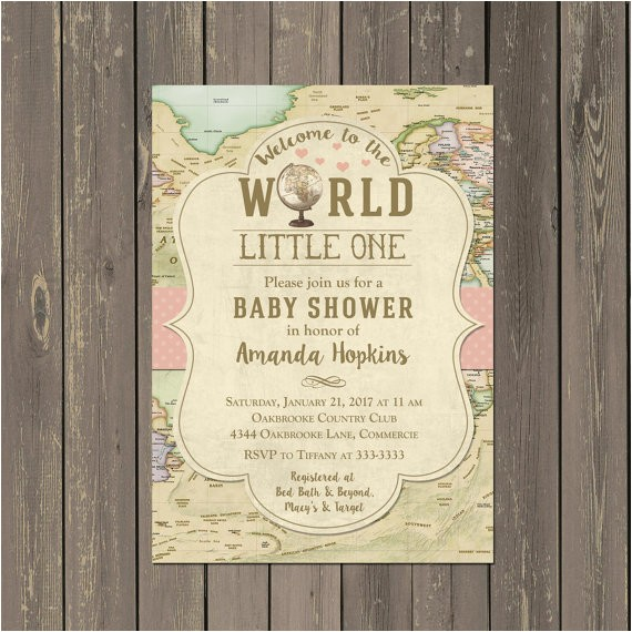 world baby shower invitation hot air