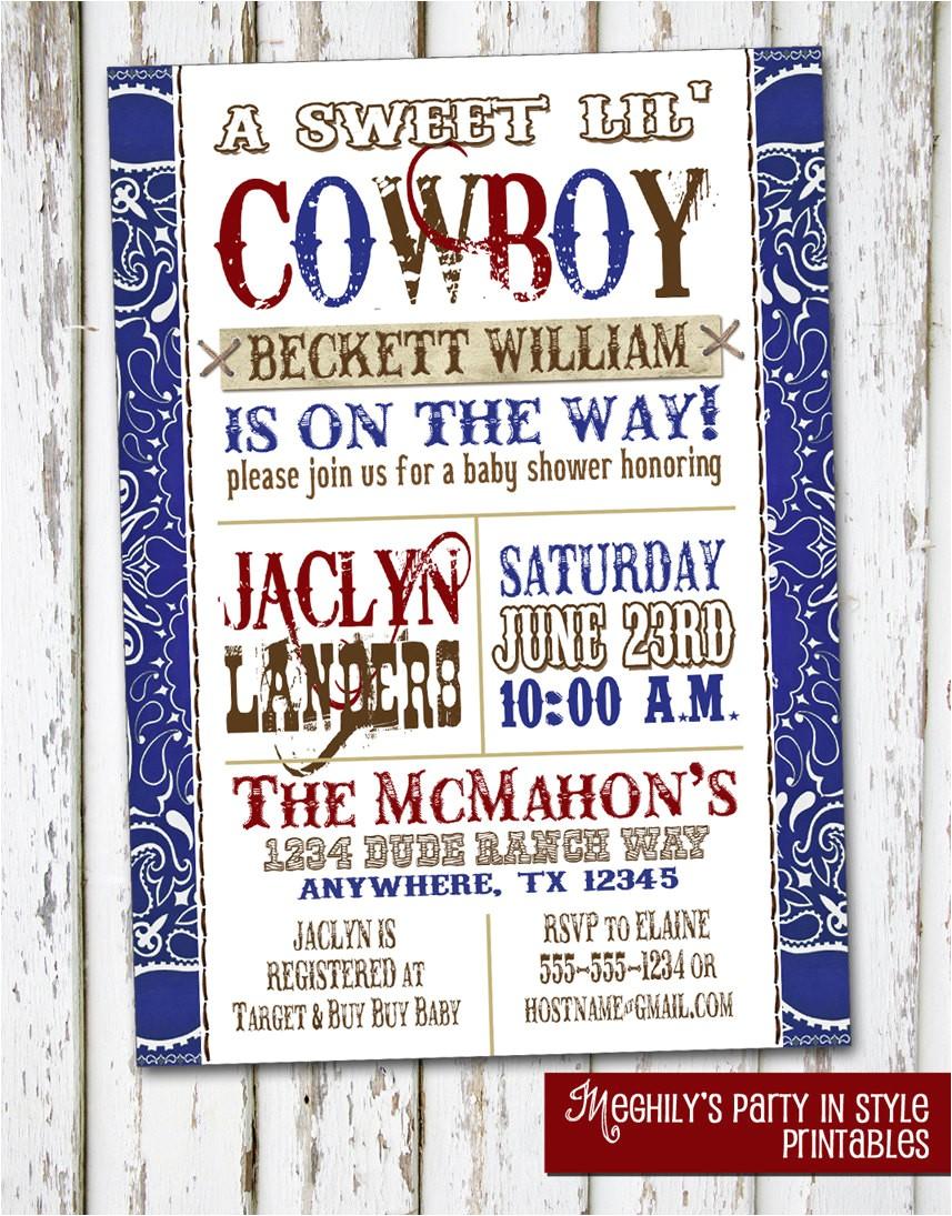 western boy baby shower invitation