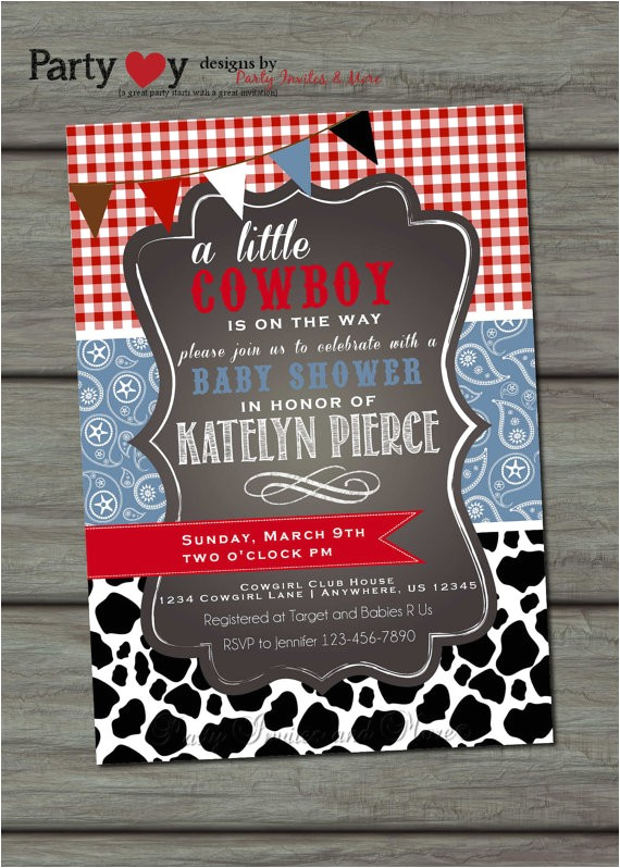 cowboy baby shower invitation paisley