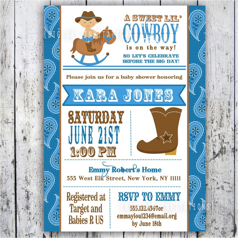 lil cowboy baby shower invitation custom