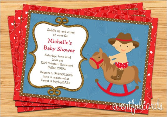 western cowboy baby shower invitation