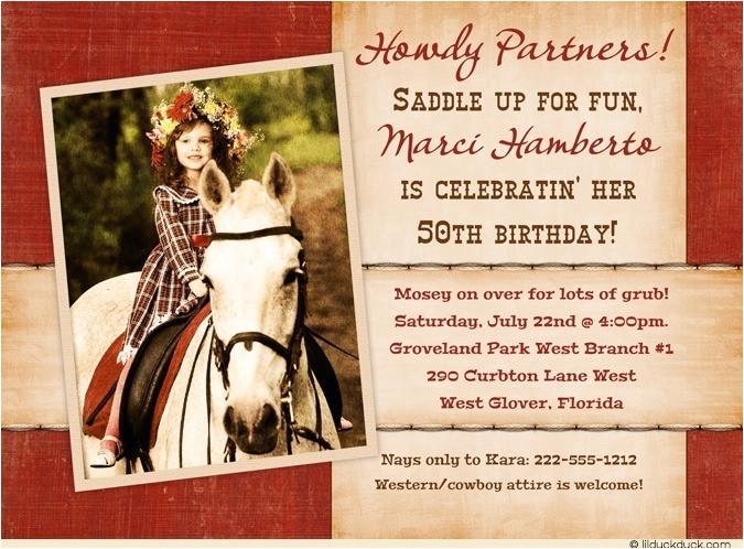 cowboy cowgirl bandana photo invitation 50th birthday