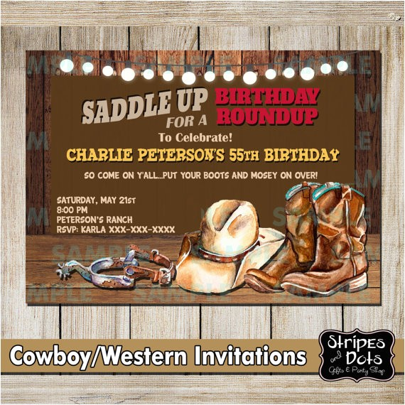 western invitations cowboys party