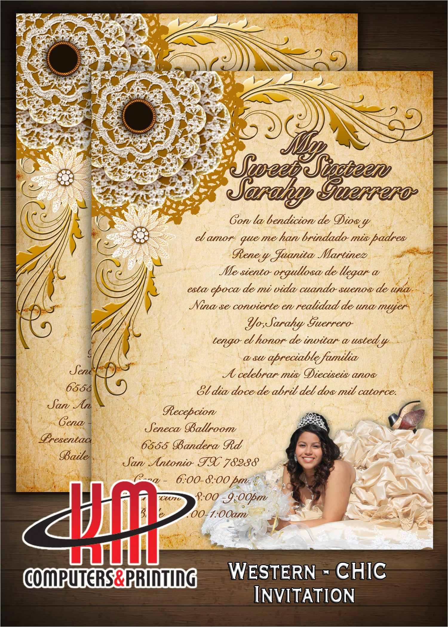 western chic invitations for sweet16 or quincea era