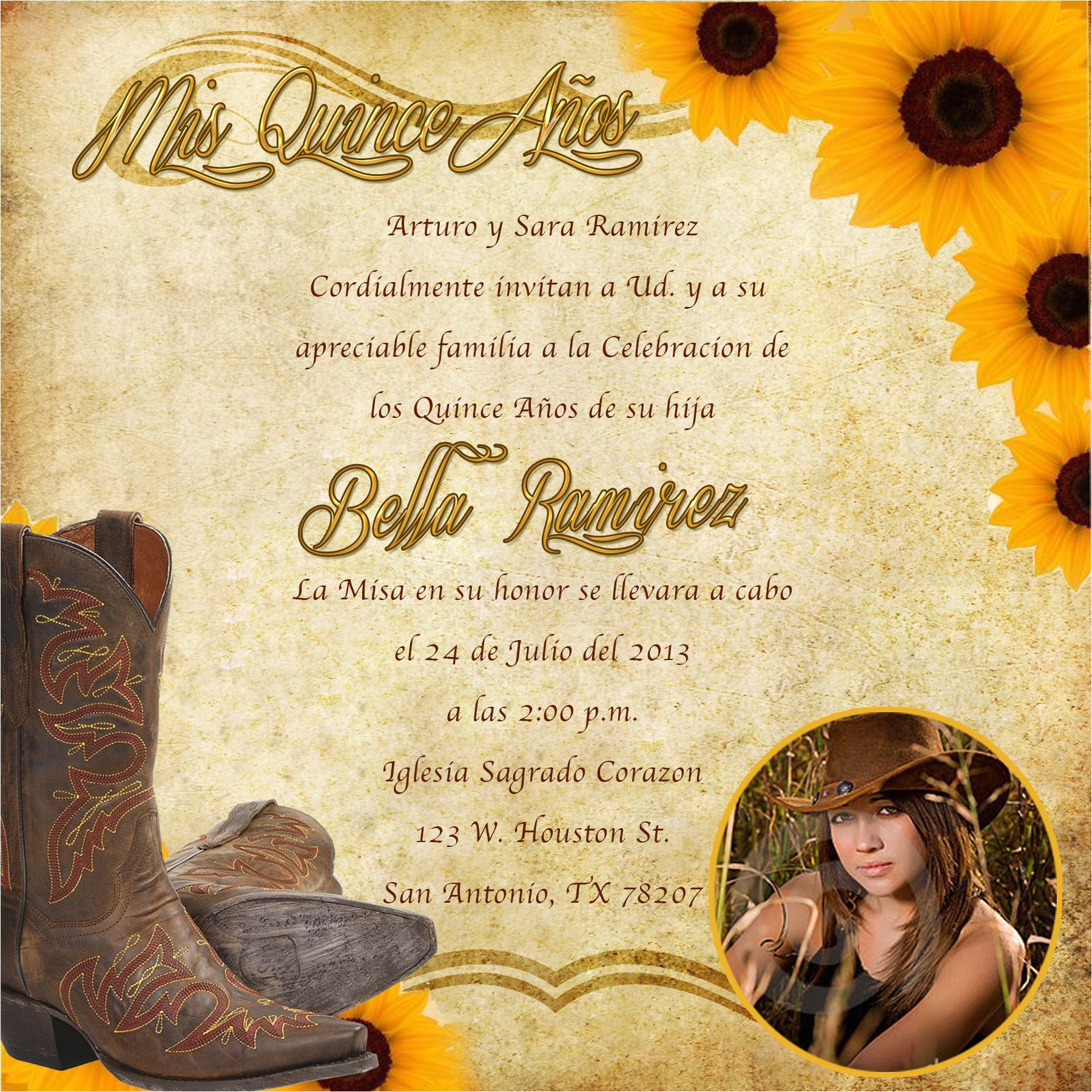 Western Quinceanera Invitations Western Invitations Printable Western theme Invitation
