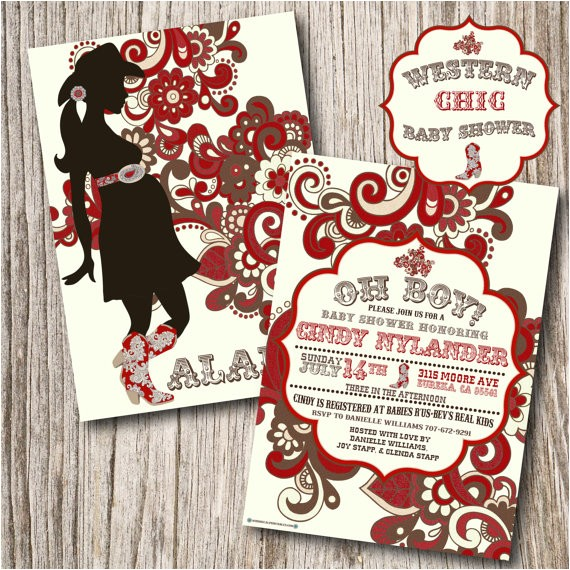 western cowgirl baby shower invitation