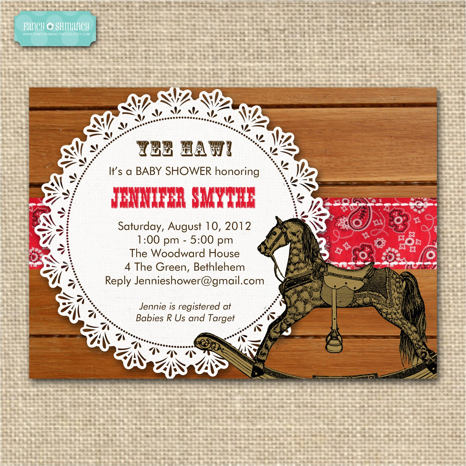western themed baby shower invitation