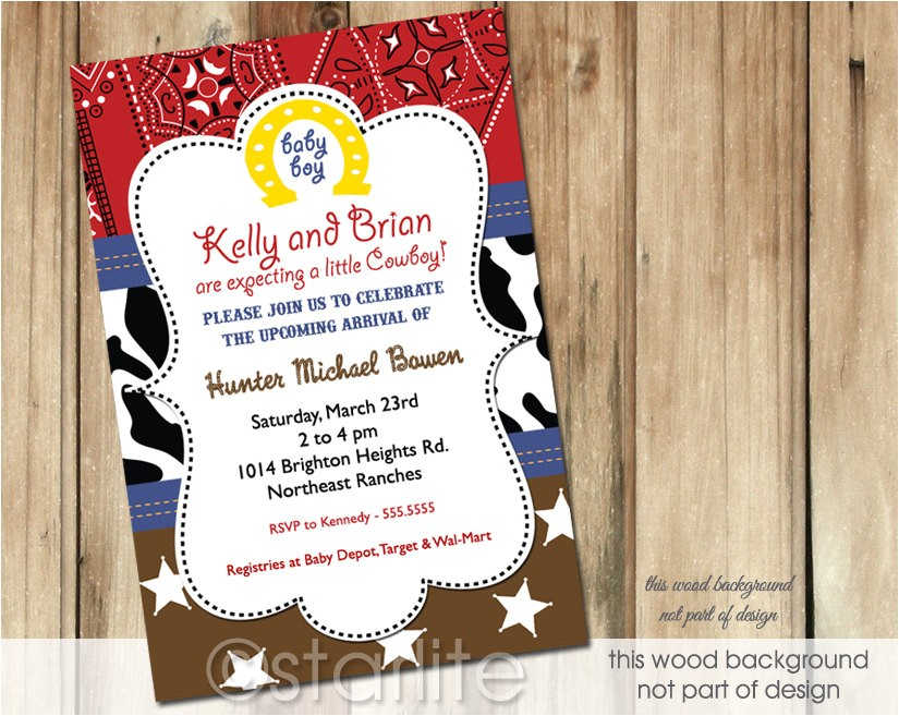 western theme baby shower invitation