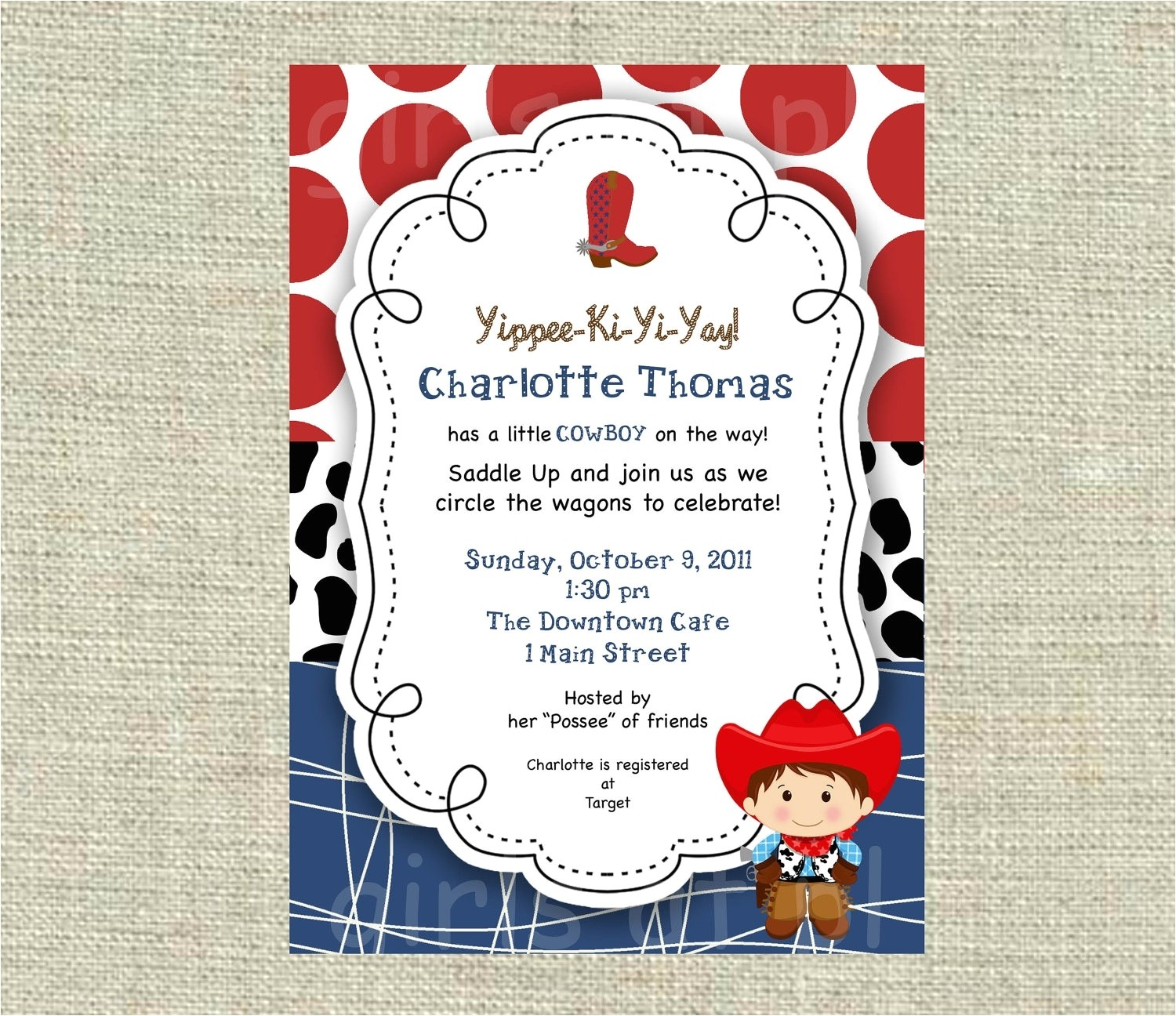 western baby shower invitations template