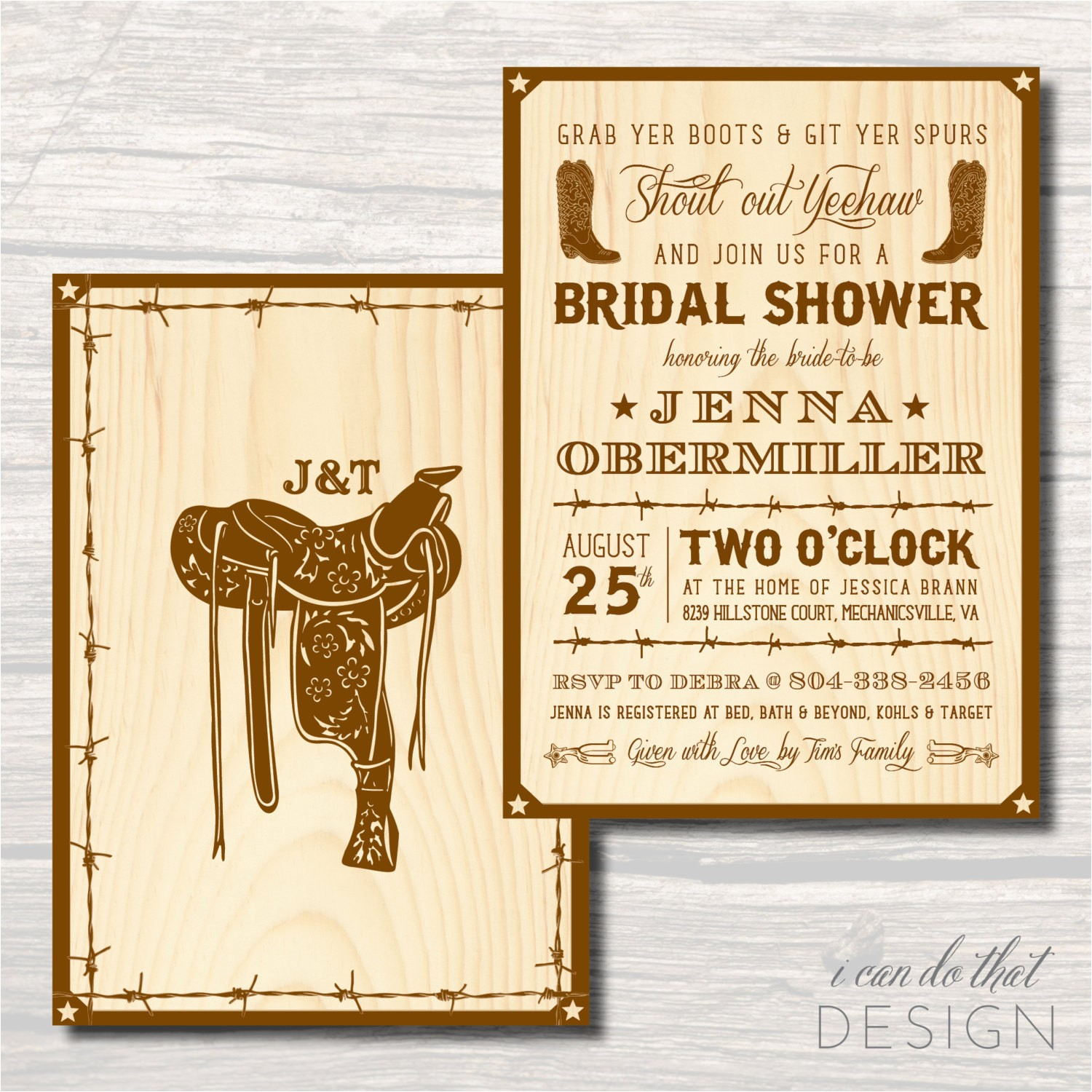 country western bridal shower invitation