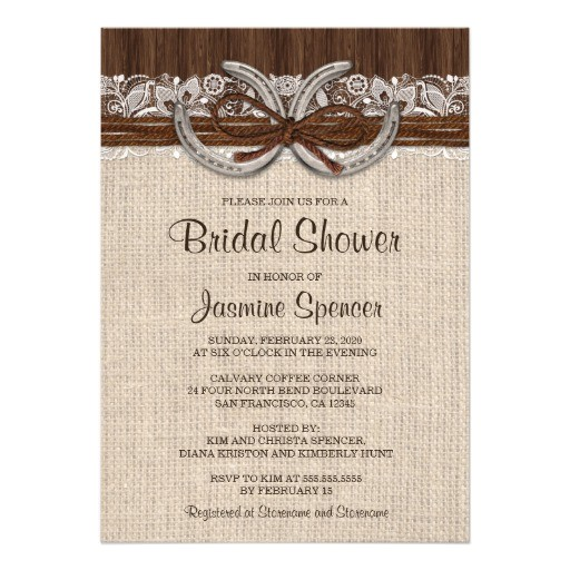 country western horseshoe bridal shower invitation