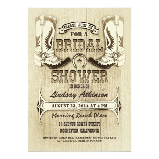 cowboy shoes western bridal shower invitations