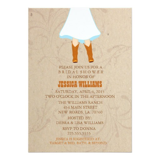 rustic western bridal shower invitations