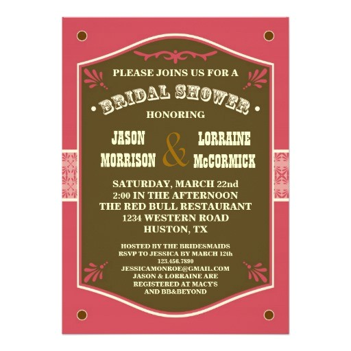 western couples bridal shower invitation