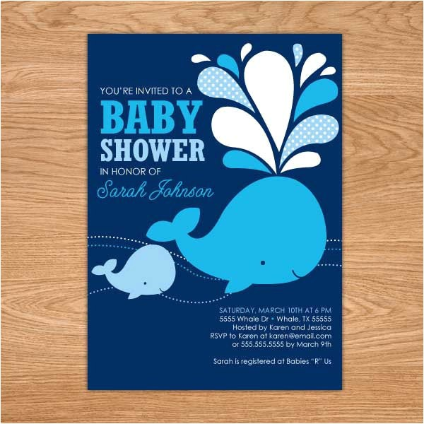 whale baby shower invitation printable