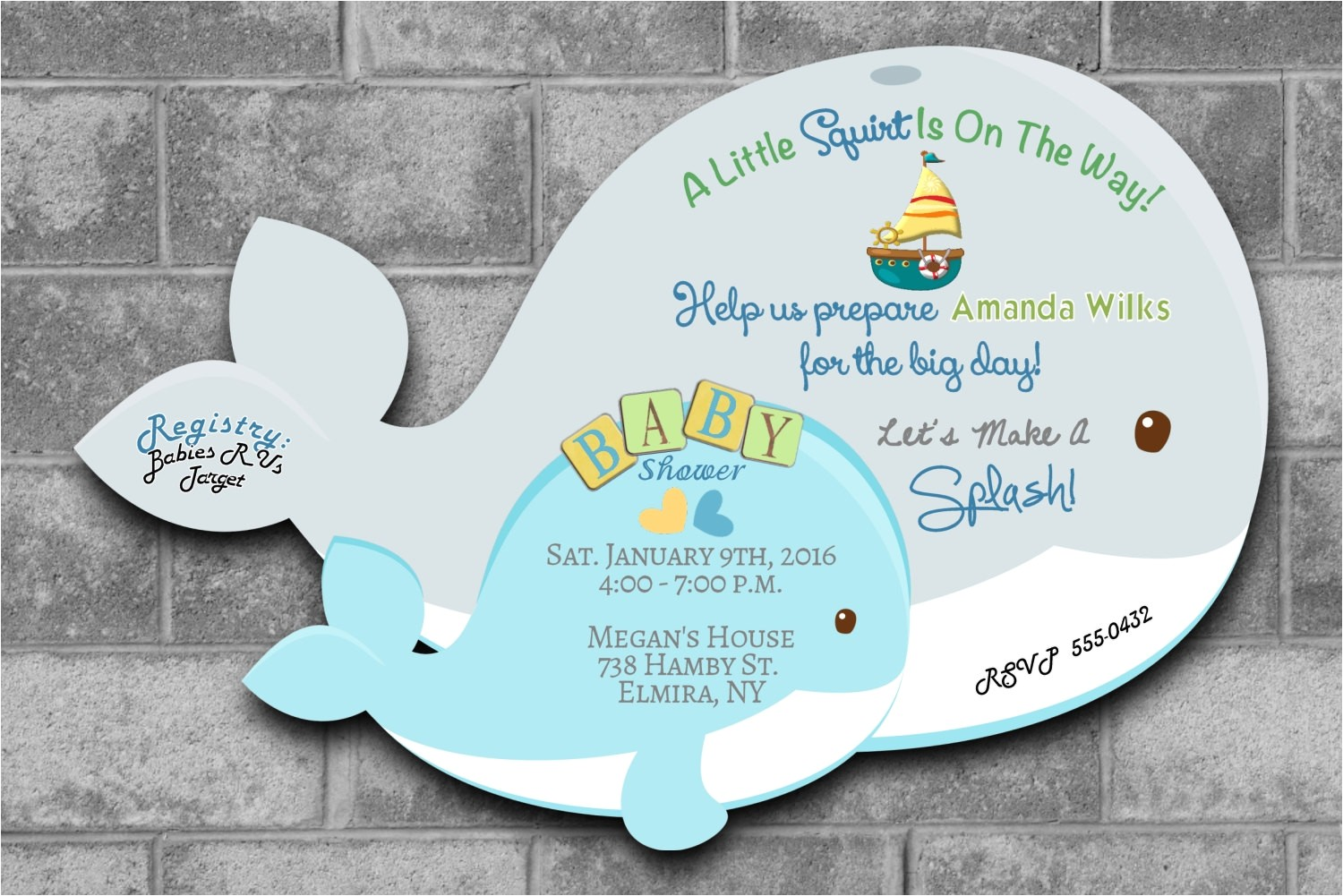 whale baby shower invitations nautical