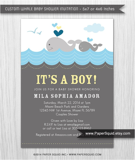 whale theme baby shower invitation boy