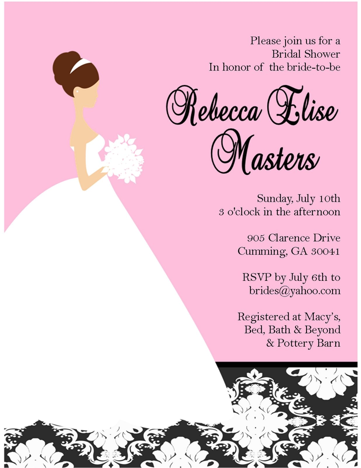 What to Put On A Bridal Shower Invitation Bridal Shower Invitations Custom Bridal Shower
