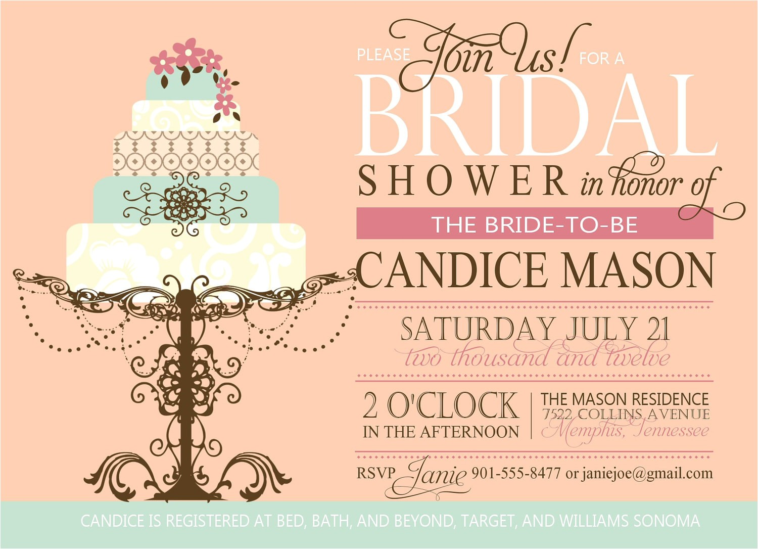bridal shower invitation custom