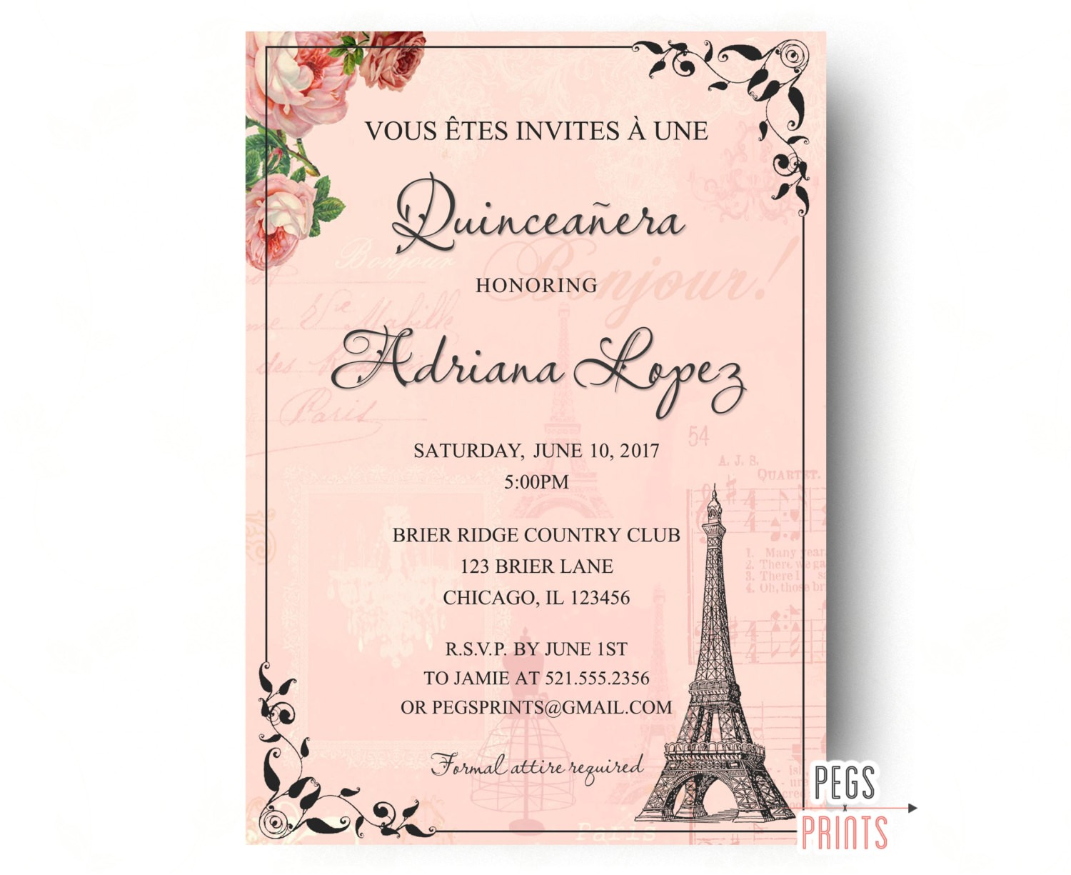 paris quinceanera invitation quinceanera