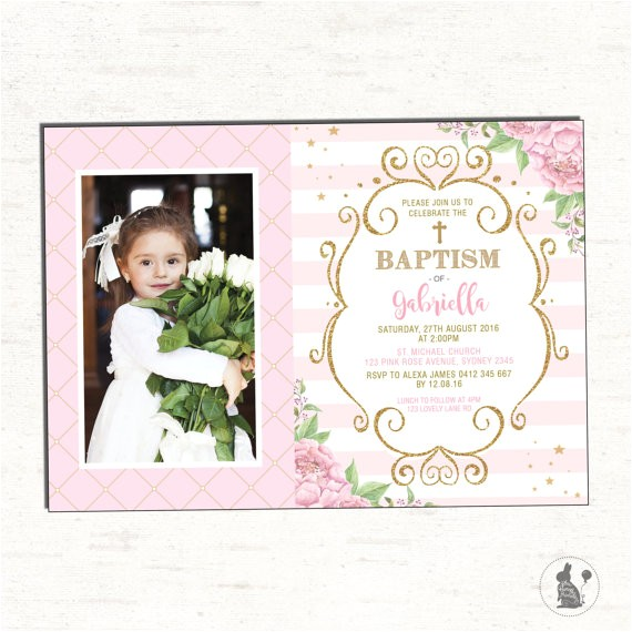baptism invitation girl pink gold floral