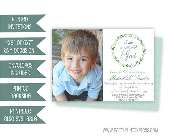 photo baptism invitation boy child god