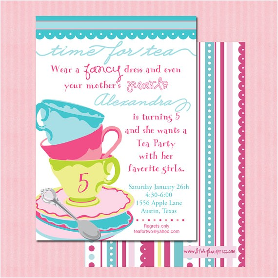 tea party whimsical birthday invitation pink