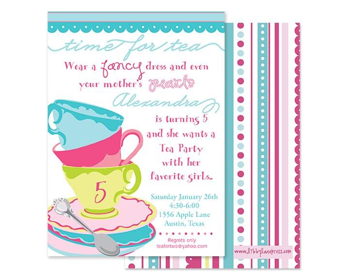 tea party whimsical birthday invitation