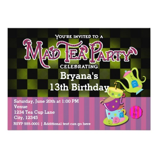 whimsical mad tea party birthday party invitation 256432097313902407