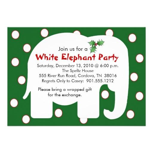 white elephant holiday party invitations