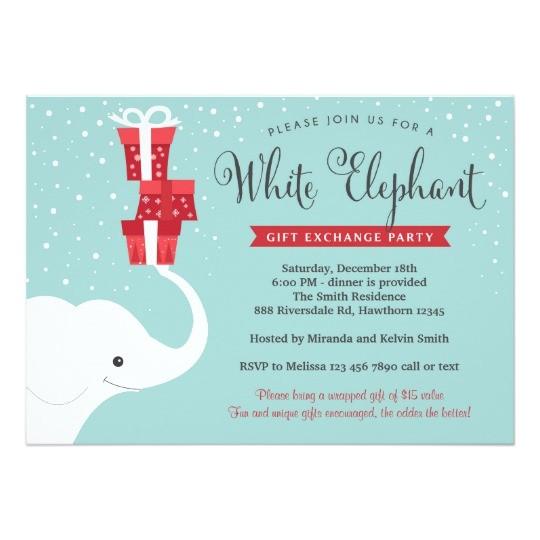 white elephant invitation christmas party invite