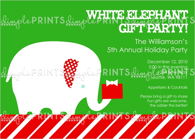 White Elephant Christmas Party Invitations Templates White Elephant Printable Holiday Party Invitation Dimple