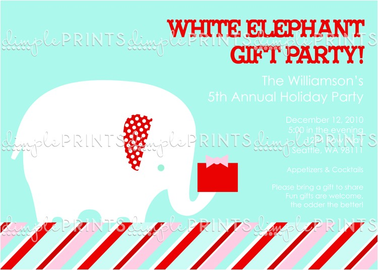 white elephant printable holiday party invitation
