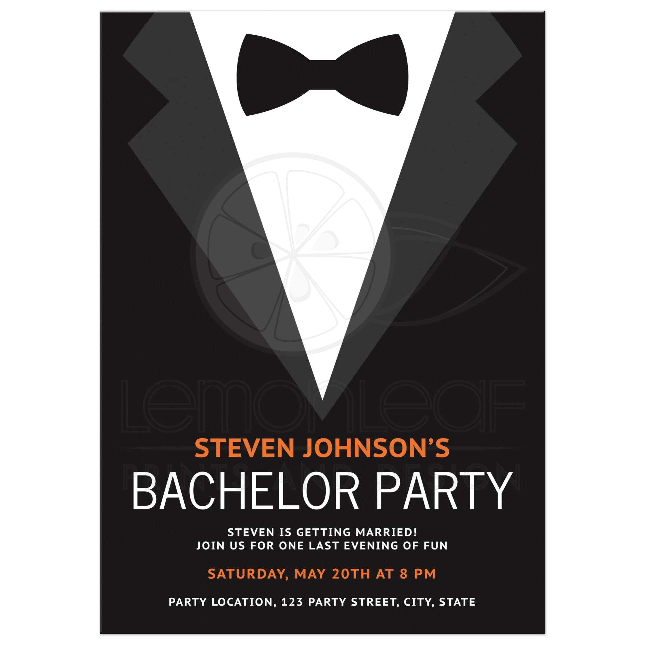 bachelor party invitation with bow tie bold and modern design in black gray and orange