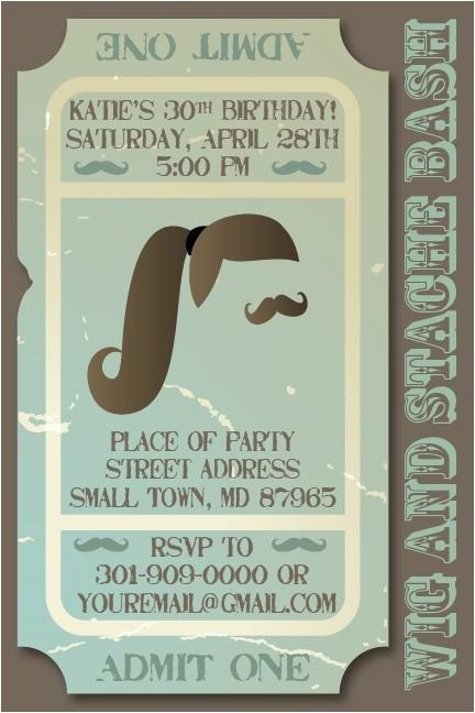 wig mustache party ideas