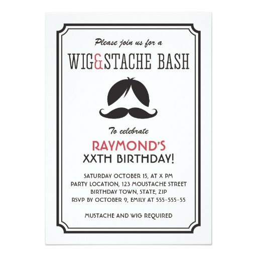 retro stripes wig and mustache bash birthday party invitation
