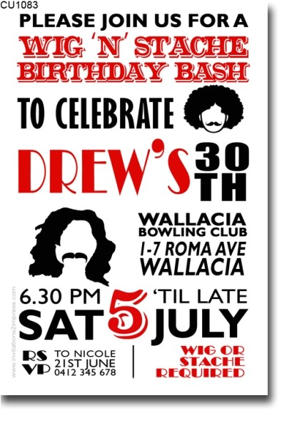 cu1083 wig and stache birthday invitation