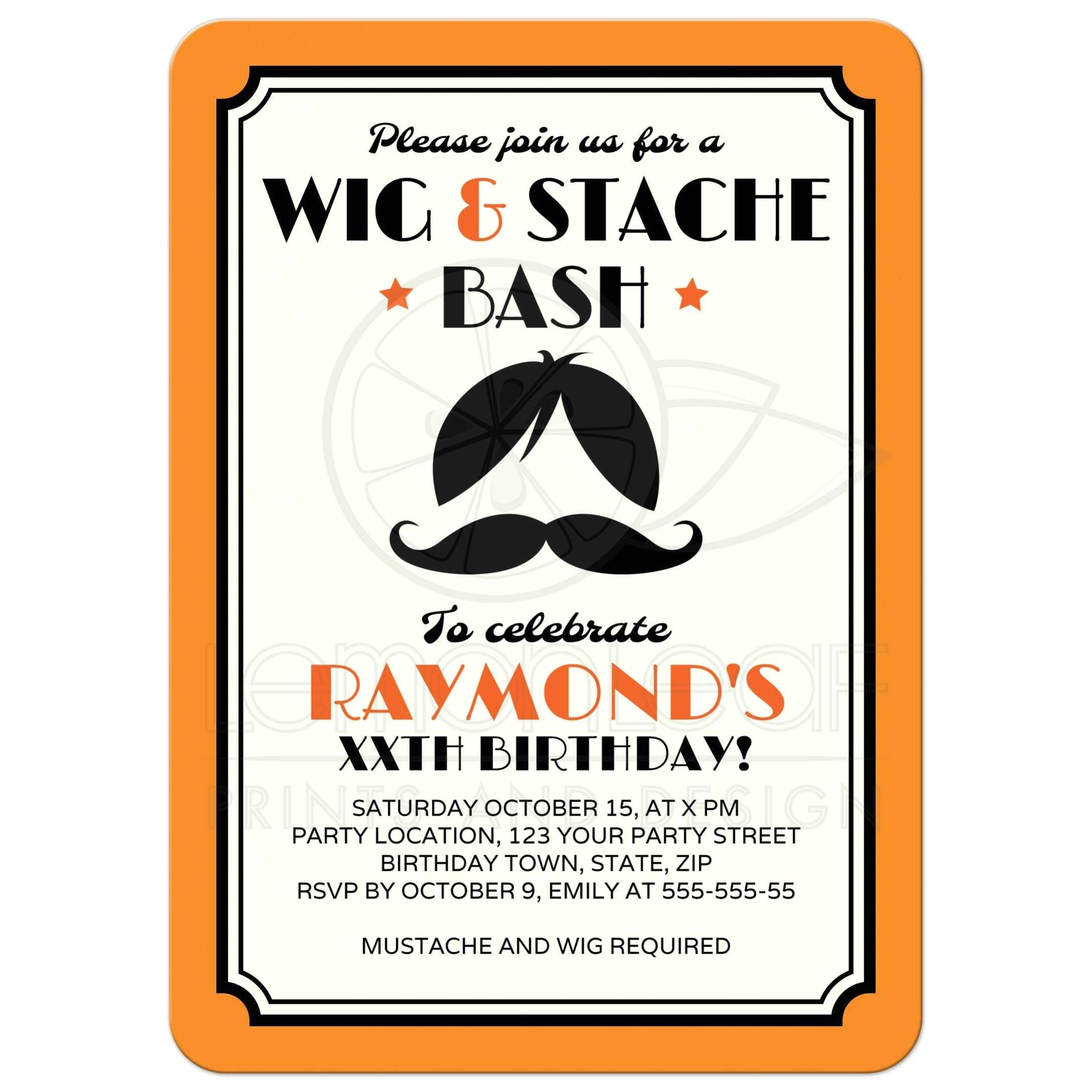 retro wig and mustache bash birthday party invitation orange black