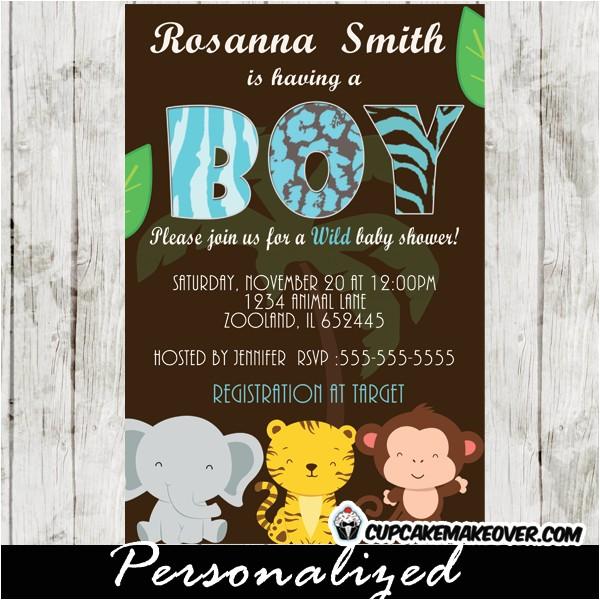 safari baby shower invitation card for boys personalized